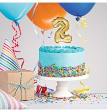 Mini Ballon Chiffre Autogonflable 2 - Décor pour gâteau Doré Mylar