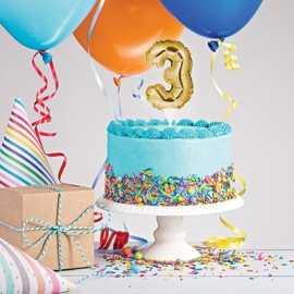 Mini Ballon Chiffre Autogonflable 3 - Décor pour gâteau Doré Mylar