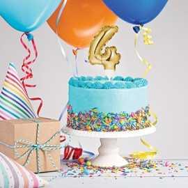 Mini Ballon Chiffre Autogonflable 4 - Décor pour gâteau Doré Mylar