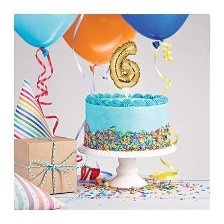 Mini Ballon Chiffre Autogonflable 6 - Décor pour gâteau Doré Mylar