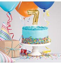 Mini Ballon Chiffre Autogonflable 7 - Décor pour gâteau Doré Mylar