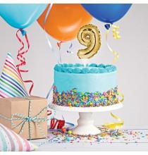 Mini Ballon Chiffre Autogonflable 9 - Décor pour gâteau Doré Mylar