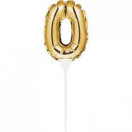 Mini Ballon Chiffre Zéro Autogonflable - Décor pour gâteau Doré Mylar