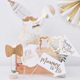 "Kit Photobooth - Premium ""Oh Baby"" Blanc et doré"