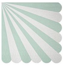 20 Grandes Serviettes Vert d'eau Pastel Rayées Blanc - Candy Party