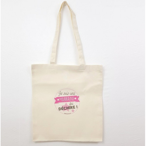 Tote Bag Marraine Qui Déchire Rose - Sac coton naturel