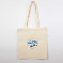 Tote Bag Parrain Qui Déchire Bleu - Sac coton naturel