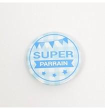 Badge Super Parrain Bleu