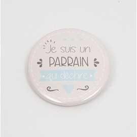 Badge Parrain Qui Déchire Bleu 38mm