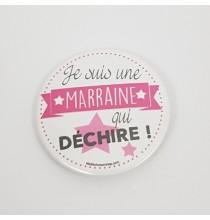 Badge Je Suis Marraine Qui Déchire Rose