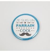 Badge Bleu Je Suis un Parrain Cool Bleu 38mm