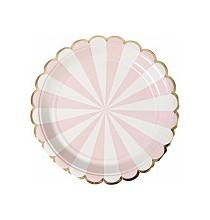 Petites Assiettes Rose Pastel Rayées Blanc - Candy Party