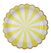 Petites Assiettes Jaune Pastel Rayées Blanc - Candy Party
