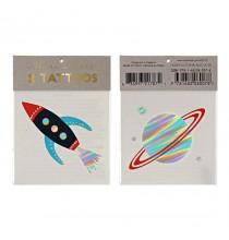 2 Tatouages Effet Brillant Fusée et Planète - Anniversaire Astronaute & Espace