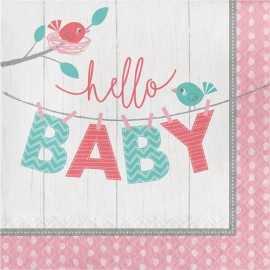 Serviettes en Papier Hello Baby - Petit Oiseau Rose