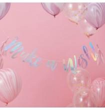 """Banderole Holographique """" Make a wish"""" - Licorne Holographique - Anniversaire"""