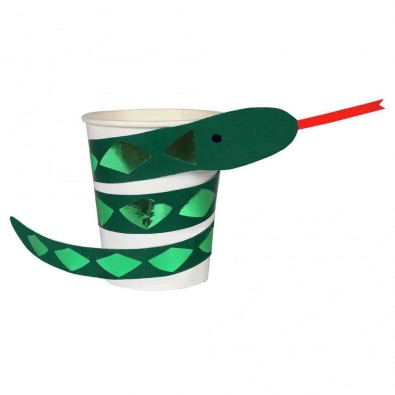 Gobelets Serpent -  en Papier Vert Foncé Décorations