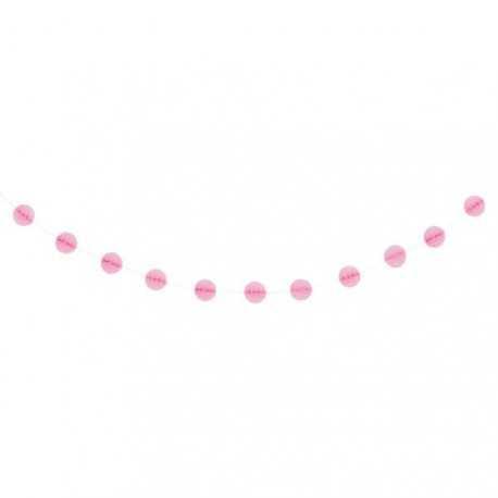 Guirlande Mini Boules Alvéolées - Rose clair