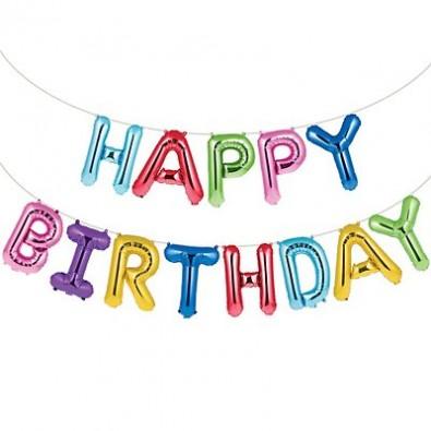 Banderole Ballon Lettres Fête Danniversaire Happy Birthday