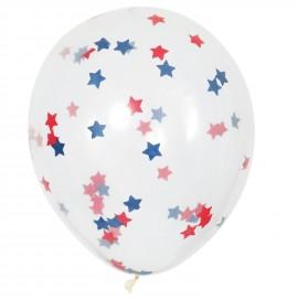6 Ballons Gonflables Latex Confettis Etoiles Bleu et Rouge