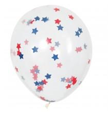 5 Ballons Gonflables Latex Confettis Etoiles Bleu et Rouge