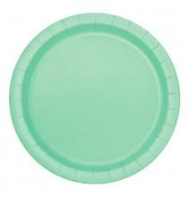 16 Grandes Assiettes Mint Vert Pastel Menthe en Papier