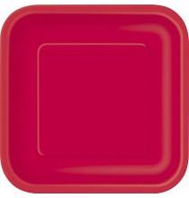 Petites Assiettes Carré en Papier Rouge - Vaisselle jetable