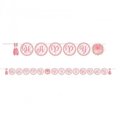 Banderole Happy Birthday Anniversaire Ruban satin fanions ronds