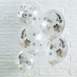 5 Ballons Gonflables Latex Confettis Etoiles Argentées Premium Fête