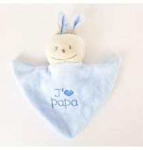 Doudou Chien Bleu avec attache tétines