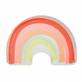 12 Assiettes Arc-en-ciel Flashy Premium Collection Rainbow Party