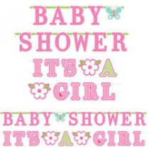 2 Banderoles Baby Shower Rose et It's a girl