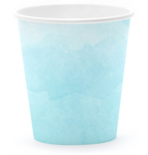 Gobelets en papier bleu aquarelle - Bleu Pastel
