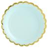 Petites Assiettes Vert Pastel et Doré - Vaisselle jetable