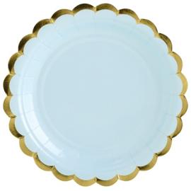 Petites Assiettes Bleu Pastel & Doré - Vaisselle Jetable