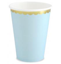 Gobelets Bleu Pastel & Doré - Vaisselle Jetable