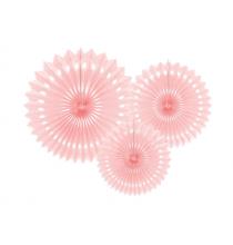 3 Rosaces Rose Pastel en Papier de soie Décoration de Fête