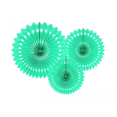 3 Grandes Rosaces Vert Mint Pastel Papier de Riz
