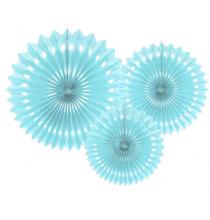 3 Grandes Rosaces Eventail Bleu Pastel Papier de Riz