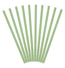 10 Pailles Rétro Chevron Vert Foncé et Blanc
