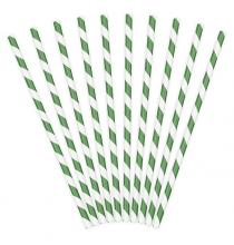 10 Pailles Rétro Rayées Vert Foncé et Blanc