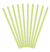 10 Pailles Rétro à Pois Vert Anis et Blanc