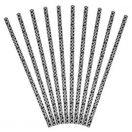 10 Pailles Rétro à Motif Noir et Blanc