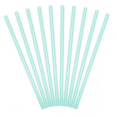 10 Pailles Rétro Unies Bleu Pastel