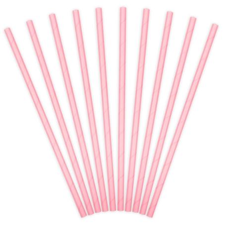 10 Pailles Rétro Unies Rose Pastel