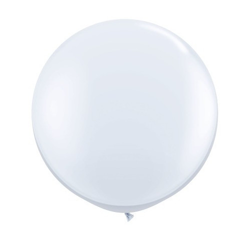 Grand ballon rond XL latex blanc 40cm - à l'unité
