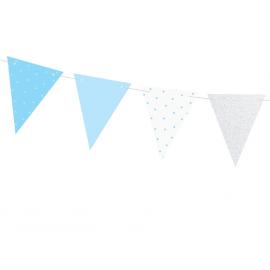 Grandes Assiettes Bleu Poudré & Argent - Anniversaire Party