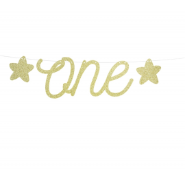 Petite Banderole Premier Anniversaire Glitter Doré Fête d'Anniversaire enfant