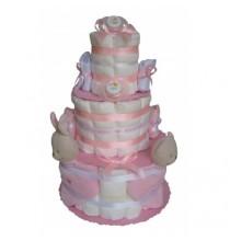 Gâteau de couches ROSE Pampers J'aime Maman et Papa