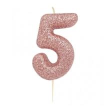 Bougie Chiffre Cinq Glitter Rose Cuivré Rose Gold Anniversaire